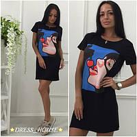 Молодежное стильное платье на лето с рисунком (2 цвета) d-5031768
