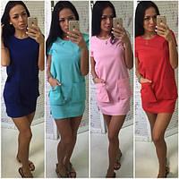 Летнее прямое однотонное платье с карманами (4 цвета) r-5031770