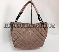 Молодежная светло-коричневая сумка-мешок с подкладкой