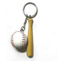 """Брелок, тематика спорт, игра Бейсбол - """"Бейсбольная бита с мячом"""", белый/бежевый цвет"""