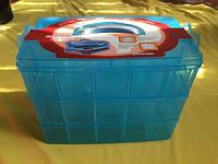 Органайзер-чемодан большой для фурнитуры 3 яруса (30 ячеек) с ручкой, цвет голубой