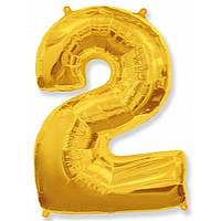 """Цифра """"2"""" золото 102 см ГЕЛИЙ фольга  на День Рождения"""