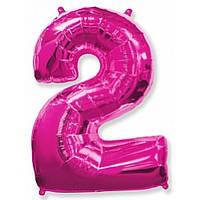 """Цифра """"2"""" розовая (фуксия) 102 см ГЕЛИЙ фольга  на День Рождения"""