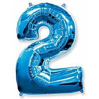 """Цифра """"2"""" синяя 102 см ГЕЛИЙ фольга  на День Рождения"""