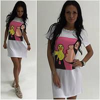Стильное молодежное прямое платье с рисунком спереди (2 цвета) k-5031777