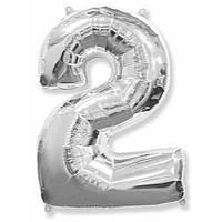 """Цифра """"2"""" серебро 102 см ВОЗДУХ фольга  на День Рождения шарик с гелием цифра  """"1"""" серебро  на День Рождения"""