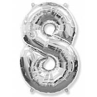"""Цифра """"8"""" серебро 102 см ВОЗДУХ фольга  на День Рождения шарик с гелием цифра  """"1"""" серебро  на День Рождения"""