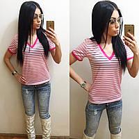 """Модна, летняя, женская футболка """"Прозрачная полоска"""" РАЗНЫЕ ЦВЕТА"""
