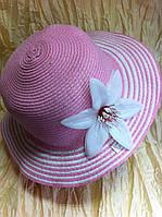 Стильная  шляпка из рисовой соломки  для лета  цвет розовый