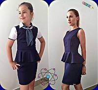 Темно-синий школьный сарафан с баской для девочки-подростка