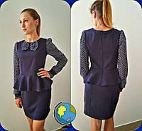 Темно-синее школьное платье с шифоновыми рукавами для девочки-подростка