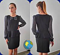 Черное школьное платье с шифоновыми рукавами для девочки-подростка