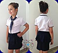Белая детская блузка(с) с коротким рукавом в школу