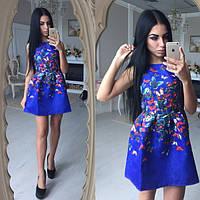 Красивое летнее платье в бабочки ткань жаккард размеры с и м