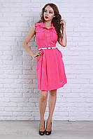 Розовое платье с накладными карманами на груди