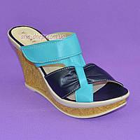 Сабо летние женские кожаные с регулируемым подъемом  на высокой платформе, цвет бирюза/синий