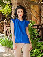 Женская шифоновая блуза без рукавов, синего цвета Селена