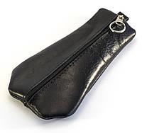 Прочная кожаная мужская ключница на молнии Б/Н art. Б/Н ключница кожа black