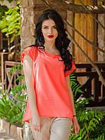 Женская шифоновая блуза с гипюровой спинкой, Милочка коралл