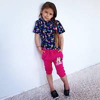 """Детский стильный костюмчик для девочки """"Микки"""": футболка и бриджи"""