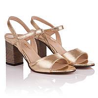 Босоножки женские Kluchini (золотистого цвета, на интересном каблуке, удобные, практичные, стильные, модные)