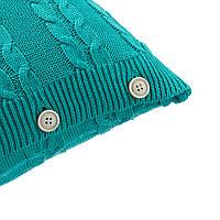 Подушка декоративная Ohaina на пуговицах вязаная в косы 40х40 хлопок цвет изумруд