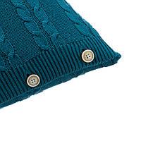 Подушка декоративная Ohaina на пуговицах вязаная в косы 40х40 хлопок цвет океан