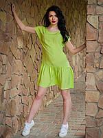 Легкое свободное платье из хлопка, Лолита лаймовая