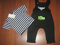 Детский стильный комплект для мальчика: футболка в полоску и комбез с нашивкой (3 цвета)