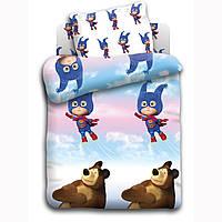 Постельное белье Маша и Медведь, в детскую кроватку, дизайн Маша супергерой