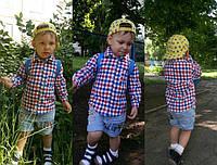Детская красивая рубашка в клетку для мальчика (2 цвета)