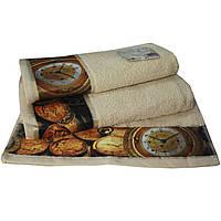 Набор из 3-х махровых полотенец Романтика в подарочной упаковке, комплект: 35х70 см, 50х90 см, 60х130 см, дизайн Антик песочный