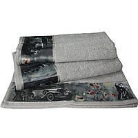 Набор из 3-х махровых полотенец Романтика в подарочной упаковке, комплект: 35х70 см, 50х90 см, 60х130 см, дизайн Ретро серебро