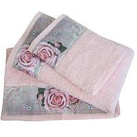 Набор из 3-х махровых полотенец Романтика в подарочной упаковке, комплект: 35х70 см, 50х90 см, 60х130 см, дизайн Романтика персиковый