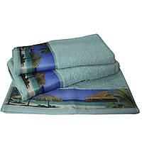 Набор из 3-х махровых полотенец Романтика в подарочной упаковке, комплект: 35х70 см, 50х90 см, 60х130 см, дизайн Бали бирюзовый