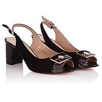 Босоножки женские Foletti (замшевые черного цвета, сдержанный дизайн, удобный каблук, элегантные)