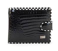 Кожаный черный горизонтальный женский кошелек на кнопке FUERDANNI art. 2173F-67