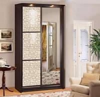Шкаф-купе 2-х дверный 1,4 м (гл.45 см) ЭЛИТ ЛАК с цельным зеркалом (Скай ТМ)