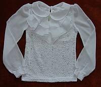 Блузки школьные гипюровые. Жабо отстегивается. Код 223-Б.