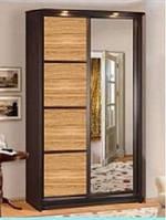 Шкаф-купе 2-х дверный 1,4 м (гл.61 см) ЭЛИТ ЛАК с цельным зеркалом (Скай ТМ)
