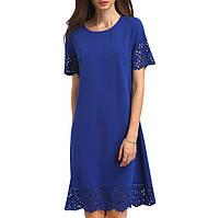 Синее платье до колен с короткими рукавами