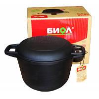 Казан Биол 3 л для дома и готовки на природе: литая крышка-сковорода, чугун