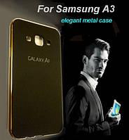 Бампер с пластиковой панелью для Samsung Galaxy A3 - черный