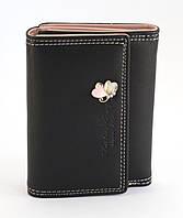 Недорогой черный горизонтальный женский кошелек на кнопке FUERDANNI art. 8804