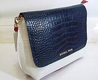 Стильная женская  сумка Michael Kors белого цвета  с элементами крокодиловой кожи