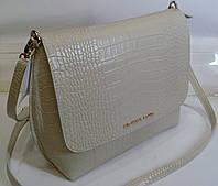 Стильная женская  сумка Michael Kors пастельно бежевого цвета  с элементами крокодиловой кожи