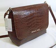 Стильная женская  сумка Michael Kors  цвета шаколад с элементами крокодиловой кожи