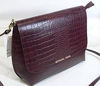 Стильная женская  сумка Michael Kors  цвета  горкий шоколад с элементами крокодиловой кожи