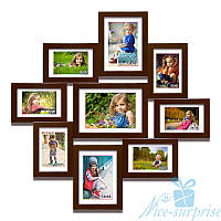 Деревянная фоторамка Афродита на 9 фотографий, обычное стекло (коричневый)