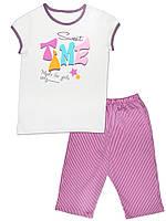 Детская пижама (футболка и брюки) (Белый с розовым, SweetTime)
